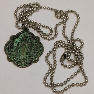 Jewelry - Long Dark Patina Brass Religious Medal Necklace